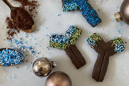 gebackene Schokoladen-Antikörper-Kekse mit Streuseln und Kakaopulver auf einem Löffel und Weihnachtskugeln
