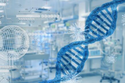 DNA und Viren im Hintergrund